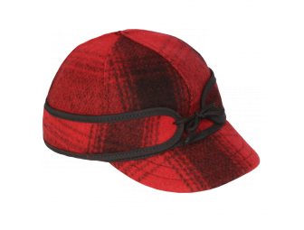 child's size red and black plaid Stormy Kromer hat