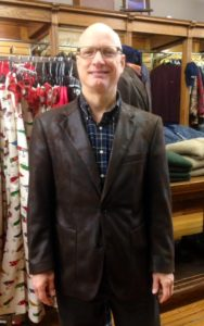 "Gruppo Bravo's versatile faux suede jacket. Mike says ""I get compliments every time I wear it!"""