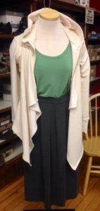 Bad Latitude ensemble featuring skirt, tee, and drape sweatshirt.